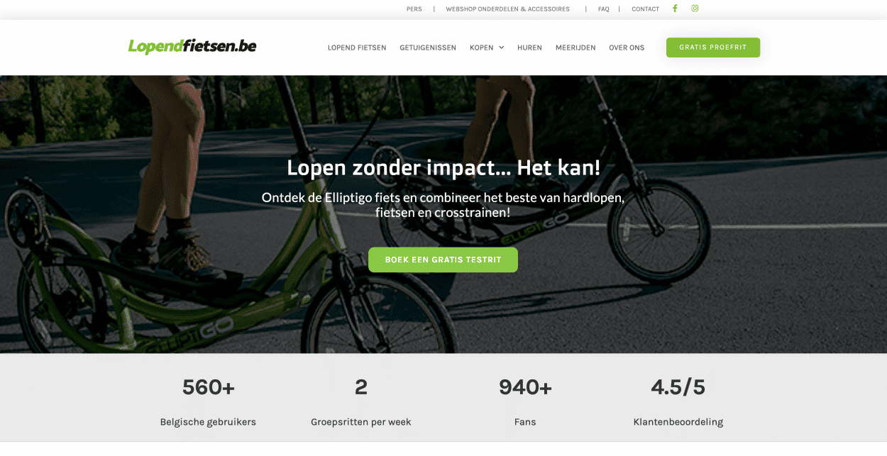 website laten maken kinepraktijk fietsen